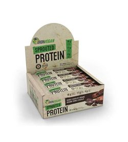 Brown box of IronVegan Sprouted Protein 12 bars of 64 g with Double Chocolate Brownie falvour