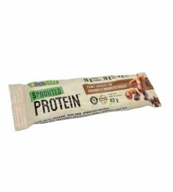 Brown pouch of IronVegan Sprouted Protein with Peanut Chocolate Chip flavour contains 62 g