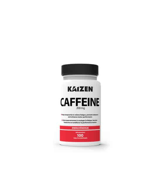 White and red bottle with black cap of Kaizen Caffeine 200 mg contains 100 shown in white background