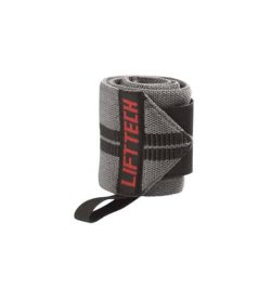 Liftech Comp Thumb Loop Wrist Wraps 18-inch shown rolled in white background