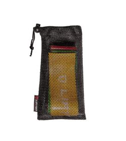 A mesh net bag of Liftech Pro Resistance Bands 5-flat different colours shown in white background