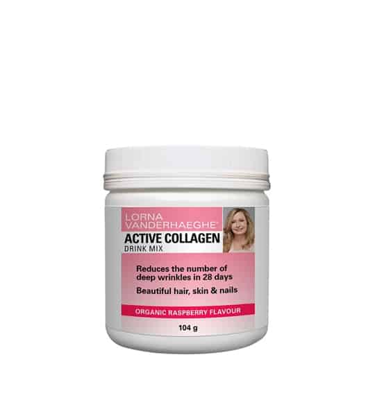 White container with pink label of Lorna Vanderhaeghe Active Collagen Drink Mix Organic Raspberry Flavour contains 104 g