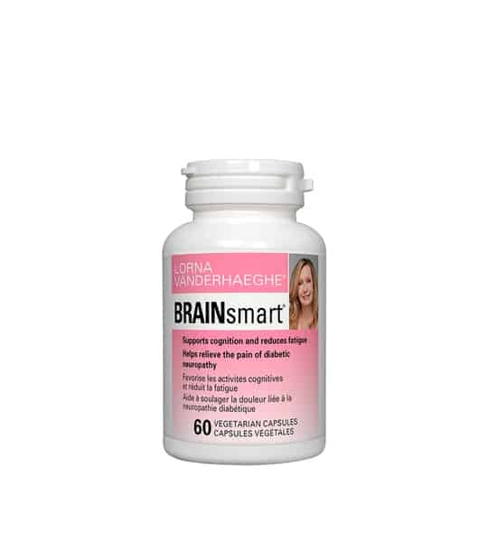 White container with pink label of Lorna Vanderhaeghe Brain Smart supports cognition and reduces fatigue contains 60 vegetarian capsules