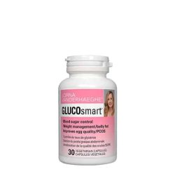 White container with pink label of Lorna Vanderhaeghe Gluco Smart Blood Sugar control contains 30 vegetarian capsules
