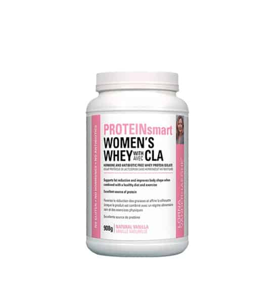White container with pink label of Lorna Vanderhaeghe Women's Whey with CLA Natural Vanilla flavour contains 908 g