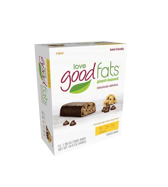 White box of Love Good Fats plant-based new keto friendly bars and box showing Choco chip outside