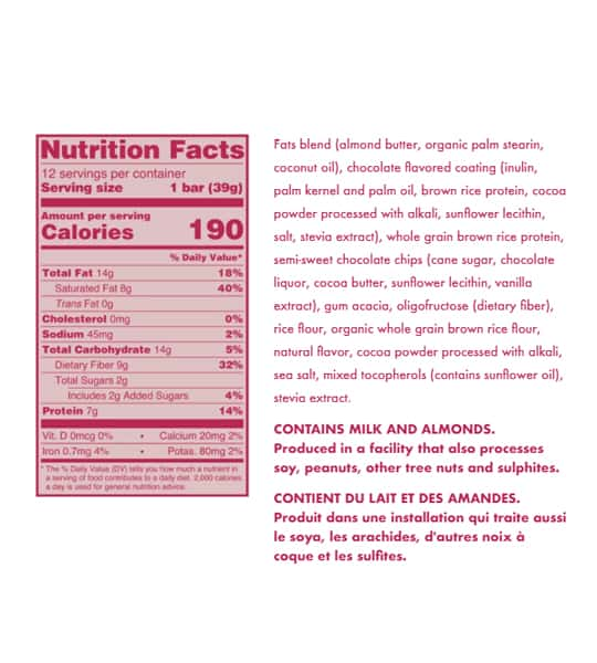 Nutrition facts and ingredients panel of Love Good Fats Chocolate Chip Cookie Dough for serving size of 1 bar (39 g)