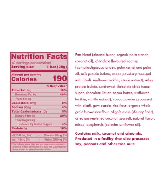 Nutrition facts and ingredients panel of Love Good Fats Coconut Chocolate Chip for serving size of 1 bar (39 g)