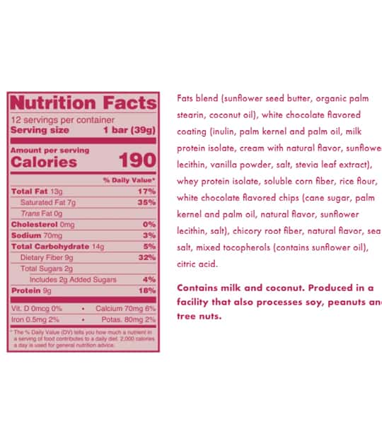 Nutrition facts and ingredients panel of Love Good Fats Lemon Mousse for serving size of 1 bar (39 g)