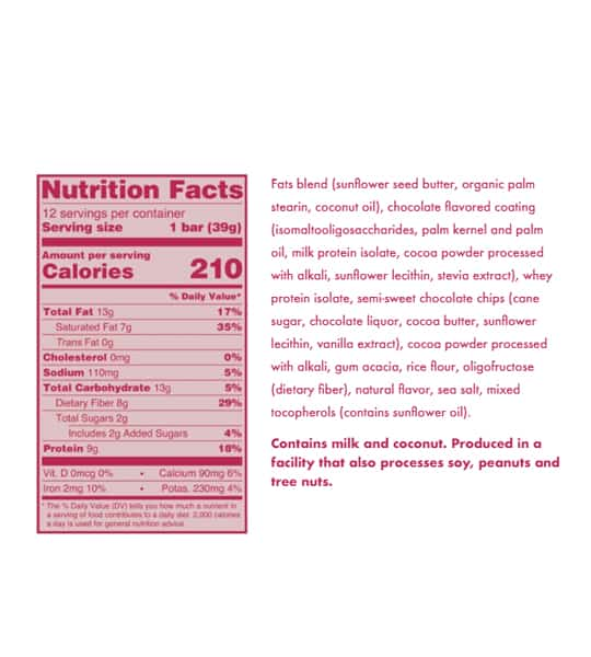 Nutrition facts and ingredients panel of Love Good Fats Mint Chocolate Chip for serving size of 1 bar (39 g)