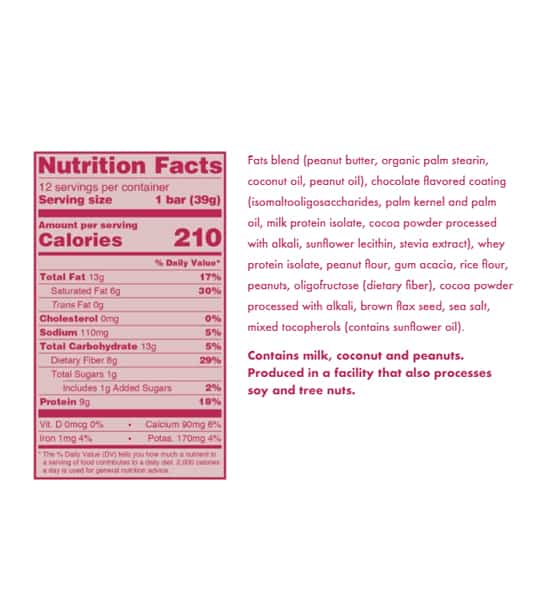 Nutrition facts and ingredients panel of Love Good Fats Peanut Butter Chocolate for serving size of 1 bar (39 g)