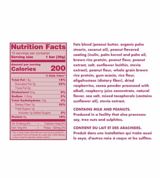 Nutrition facts and ingredients panel of Love Good Fats Peanut Butter Jam for serving size of 1 bar (39 g)