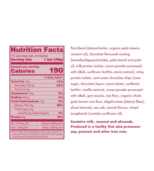 Nutrition facts and ingredients panel of Love Good Fats Rich Chocolaty Almond for serving size of 1 bar (39 g)