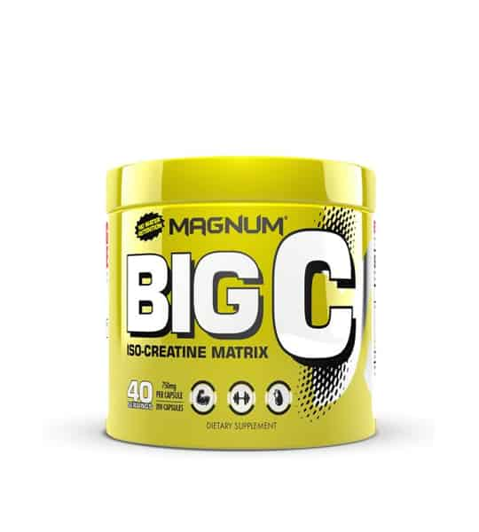 Shiny yellow container with yellow cap of Magnum BIG C ISO-Creatine Matrix contains 40 servings of dietary supplement