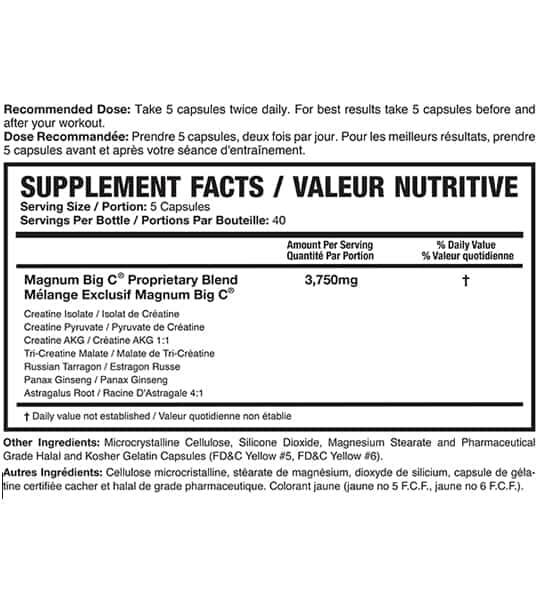 Supplement facts and ingredients panel of Magnum Big C for serving size of 5 capsules with 40 servings per bottle