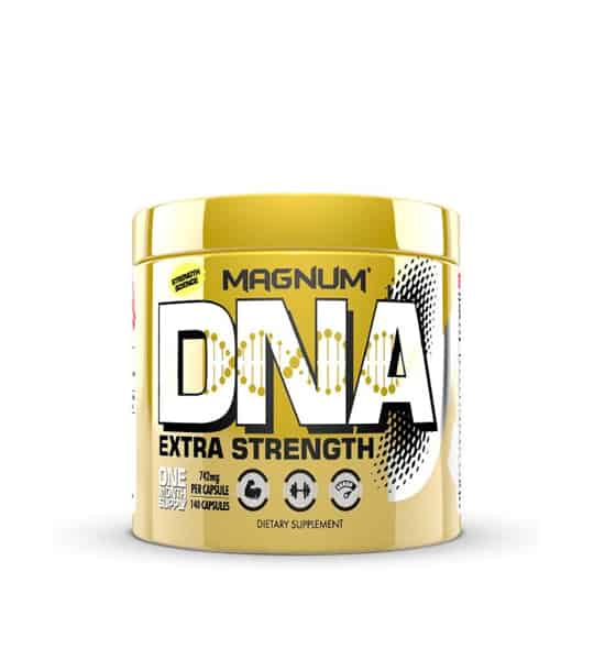 Shiny yellow container with yellow cap of Magnum DNA Extra Strength contains 140 capsules of dietary supplement