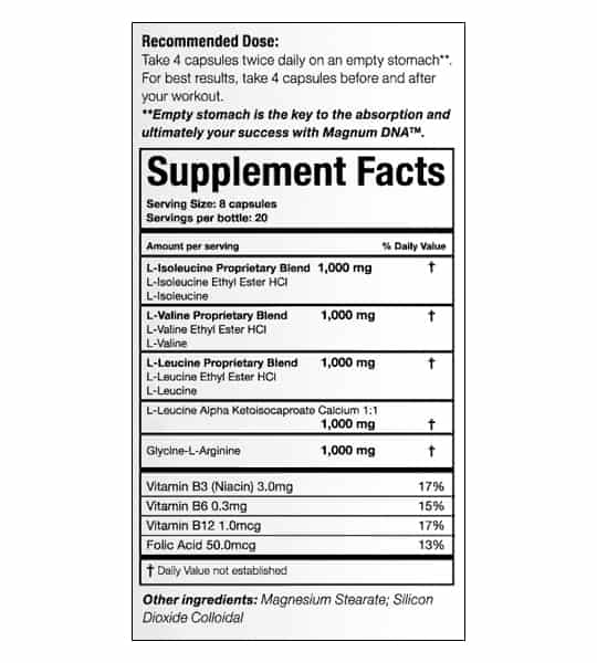 Supplement facts and ingredients panel of Magnum DNA for serving size 8 capsules with 20 servings per bottle