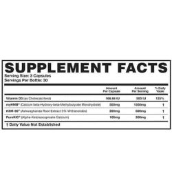 Supplement facts panel of Magnum Hard Muscle Builder for serving size of 3 capsules