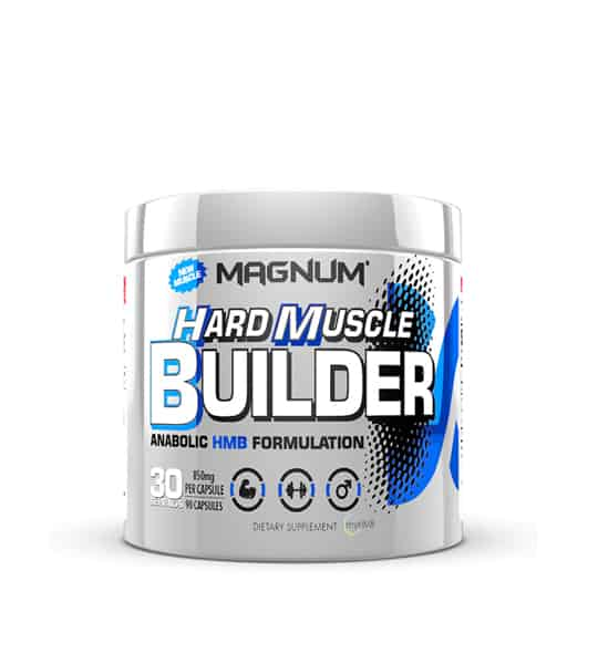 Silver container with silver cap of Magnum Hard Muscle Builder Anabolic HMB Formulation dietary supplement