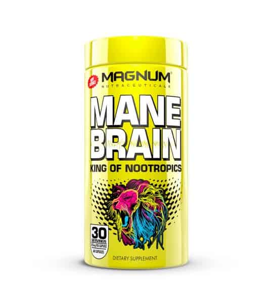 Shiny yellow container with yellow cap of Magnum MANE Brain King of Nootropics contains 30 servings of dietary supplement
