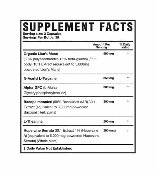 Supplement Facts panel of Magnum Mane Brain for serving size of 2 capsules with 30 servings per bottle