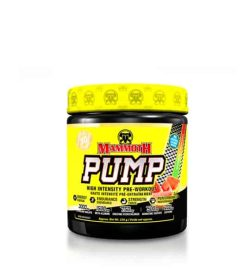 Yellow and black container with yellow lid of Mammoth PUMP high intensity pre-workout contains 30 servings