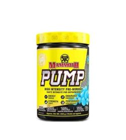 Yellow and black container with yellow lid of Mammoth PUMP high intensity pre-workout contains 540 g