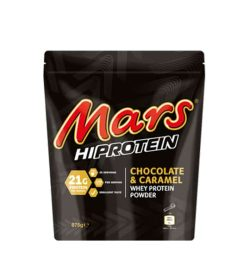 Dark brown pouch of Mars HiProtein Whey Protein Powder with Chocolate & Caramel flavour contains 875 g