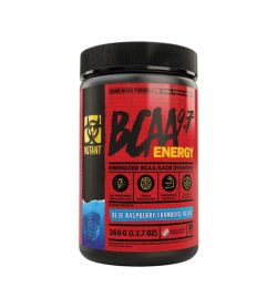 Red and black container with black lid of Mutant BCAA 9.7 Energy with Blue Raspberry flavour contains 360 g