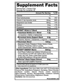 Supplement facts and ingredients panel of Mutant-9-7 BCAA Energy for serving size of 1 scoop (12 g) for 30 servings per container