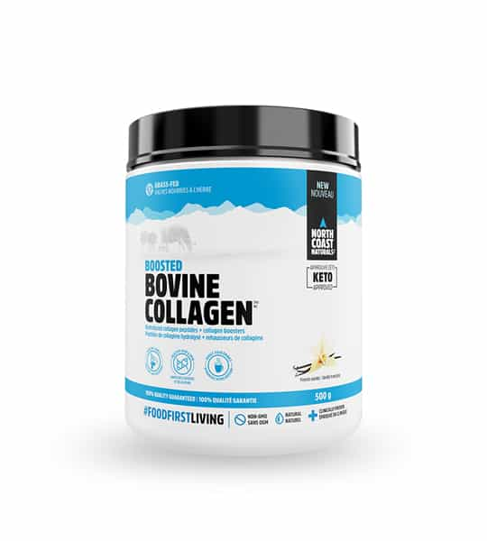 White and blue container with black lid of North Coast Naturals Boosted Bovine Collagen contains 500 g
