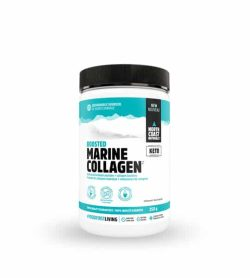 White and blue container with black lid of North Coast Naturals Boosted Marine Collagen contains 250 g