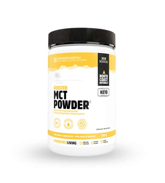 White and yellow container with black cap of North Coast Naturals Boosted MCT Powder contains 300 g