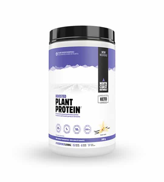 White and blue container with black lid of North Coast Naturals Boosted Plant Protein contains 840 g