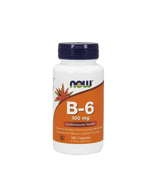 White container with blue cap and orange label of Now B-6 100 mg Cardiovascular Health contains 100 capsules of dietary supplement