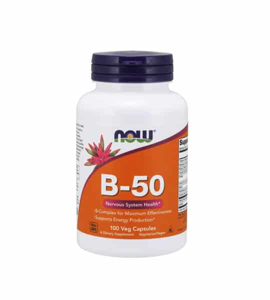 White container with blue cap and orange label of Now B-50 Nervous System Health contains 100 veg capsules