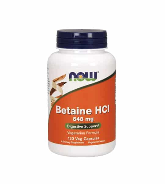 White container with blue cap and orange label of Now Betaine HCI 648 mg Digestive Support vegetarian formula contains 120 veg capsules