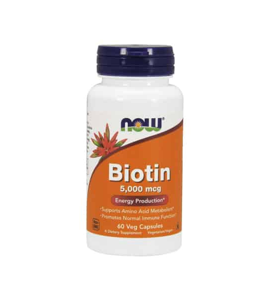 White container with blue cap and orange label of Now Biotin 5000 mcg Energy Production contains 60 veg capsules