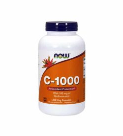 White container with blue cap and orange label of Now C-1000 Antioxidant Protection with 100 mg of Bioflavonoids contains 250 veg capsules