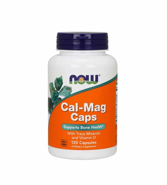 White container with blue cap and orange label of Now Cal-Mag Caps Supports Bone Health with Trace Minerals and Vitamin D contains 120 capsules