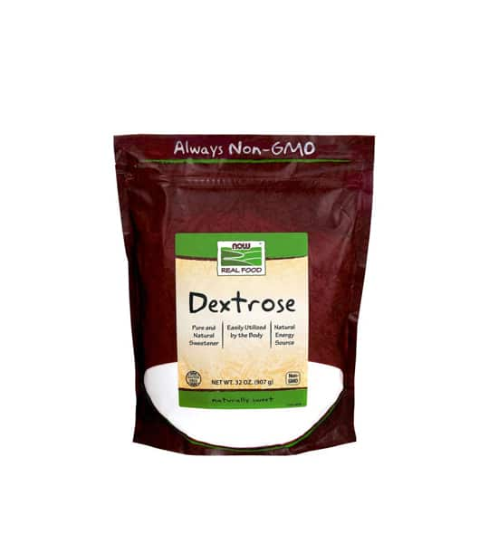 Purple pouch with green label of Now Real Food Dextrose Always Non-GMO contains net wt 32 oz