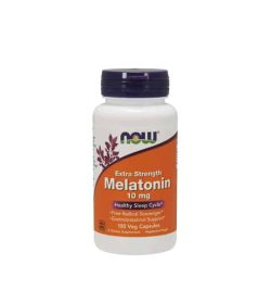 White container with blue cap and orange label of Now Extra Strength Melatonin 10 mg Healthy Sleep Cycle contains 100 veg capsules
