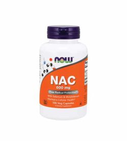 White container with blue cap and orange label of Now NAC 600 mg Free Radical Protection contains 100 veg capsules