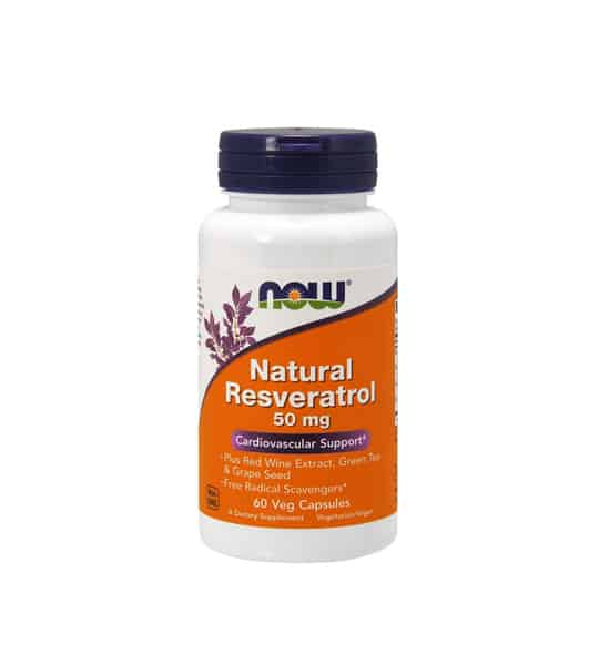 White container with blue cap and orange label of Now Natural Resveratrol 50 mg Cardiovascular Support contains 60 veg capsules