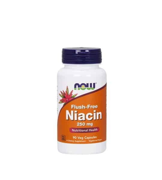White container with blue cap and orange label of Now Flush-Free Niacin 250 mg Nutrional Health contains 90 veg capsules