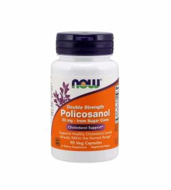 White container with blue cap and orange label of Now Double Strength Policosanol 20 mg from sugar cane Cholesterol Support contains 90 veg capsules