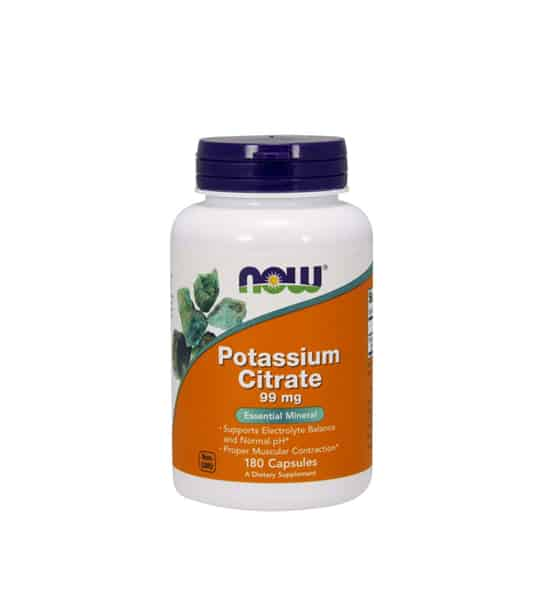 White container with blue cap and orange label of Now Potassium Citrate 99 mg Essential Mineral contains 180 capsules