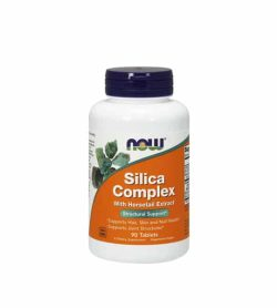White container with blue cap and orange label of Now Silica Complex with Horsetail Extract Structural Support contains 90 tablets