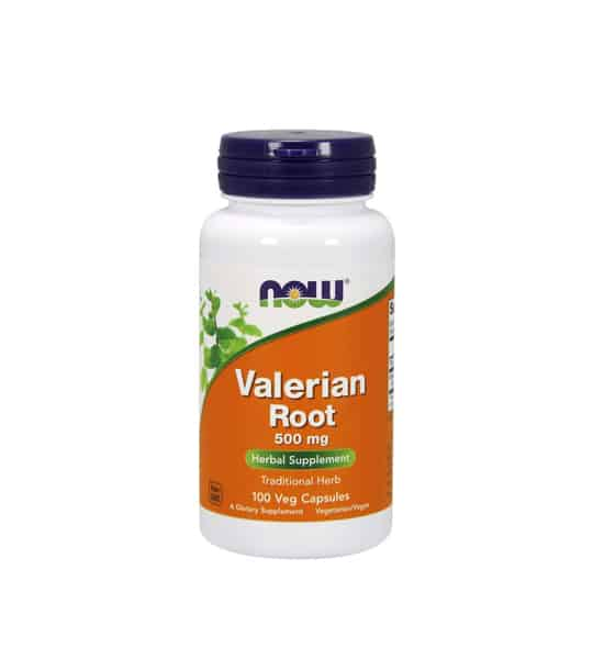 White container with blue cap and orange label of Now Valerian Root 500 mg Herbal Supplement contains 100 veg capsules