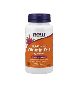 White container with blue cap and orange label of Now High potency Vitamin D-3 1000 IU Structural Support contains 180 softgels